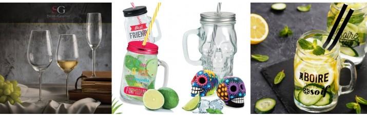 Vente Verre et Chope pas cher – Chope limonade, verre à vin, Mason jar Paille, verre Eau cristallin